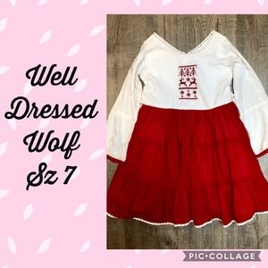 EUC Well Dressed Wolf Red Reindeer dress sz 7